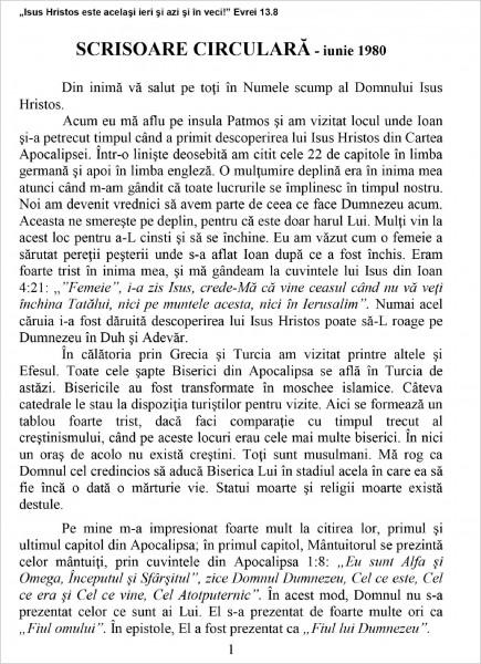 Eanghelia.ro - Scrisoare circulara  - 1980 iunie