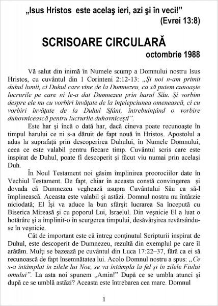 Scrisoare circulara - 1988 octombrie