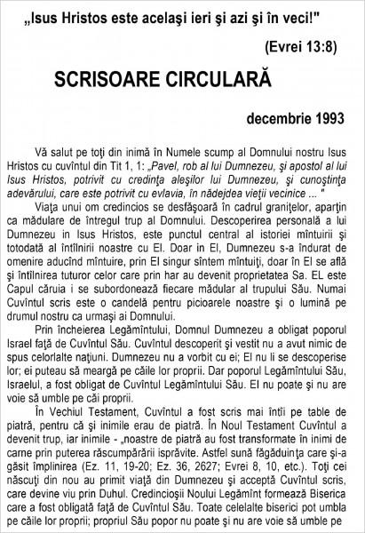 Scrisoare circulara - 1993 decembrie