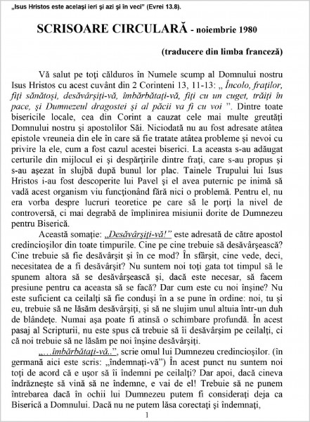 Evanghelia.ro - Scrisoare circulara - 1980 noiembrie
