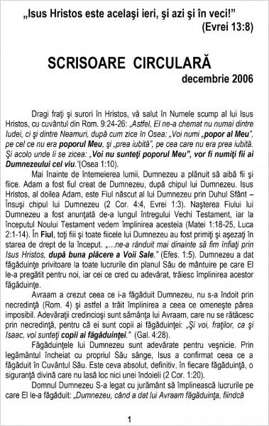 Scrisoare Circulara - 2006 Decembrie