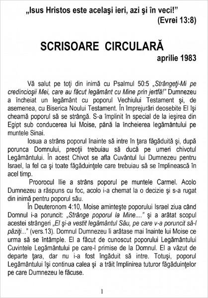 Scrisoare circulara - 1983 aprilie
