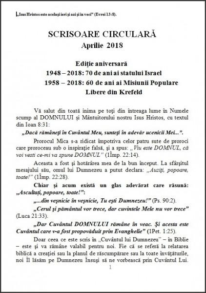 Evanghelia.ro - Ewald Frank - Scrisoare circulară din aprilie 2018