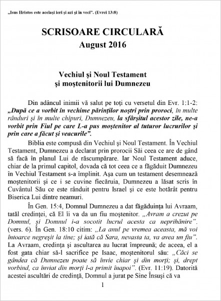 Evanghelia.ro - Scrisoare circulara august 2016