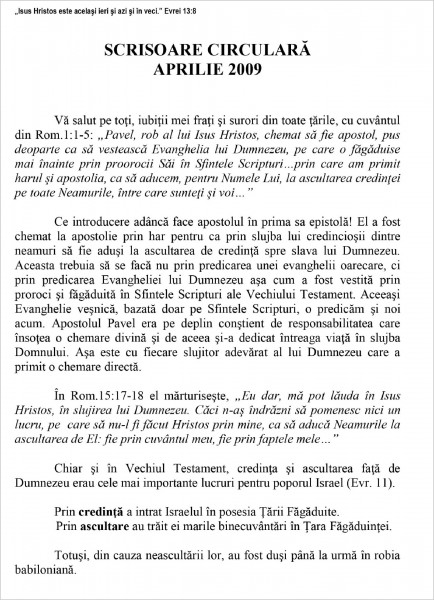 Scrisoare Circulara - 2009 Aprilie
