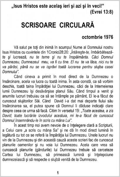 Scrisoare circulara 1976 octombrie