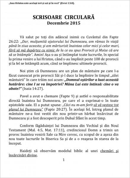 Scrisoare circulara - 2015 decembrie