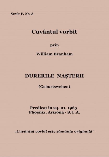 Evanghelia.ro - William Branham - Durerile nasterii