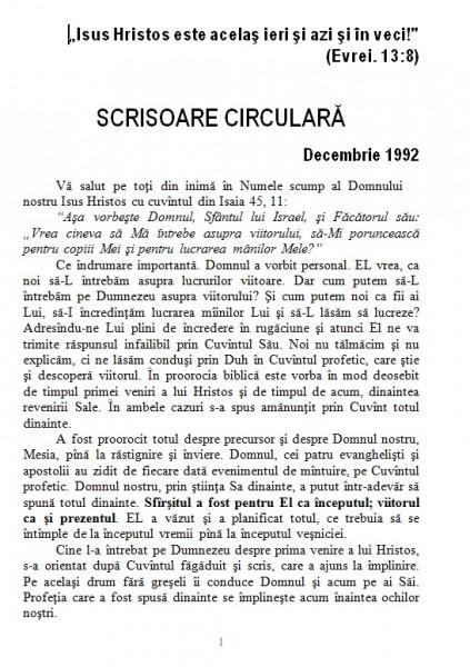 Scrisoare circulara - 1992 decembrie