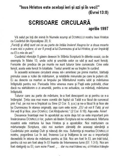 Scrisoare circulara - 1997 aprilie