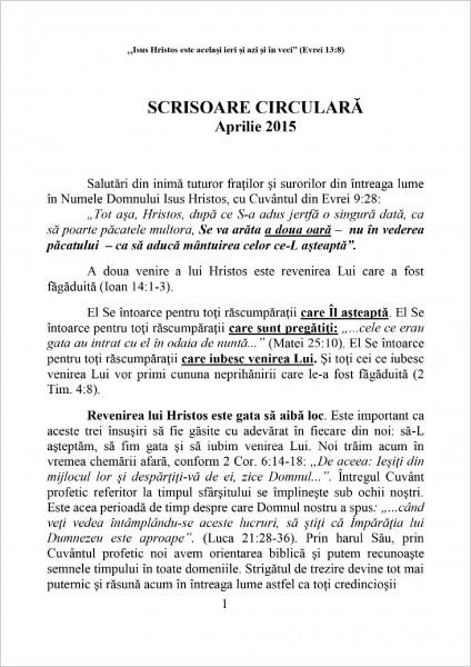Scrisoarea circulara aprilie 2015