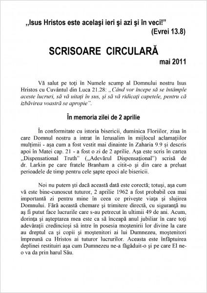 Scrisoare circulara 2011 mai