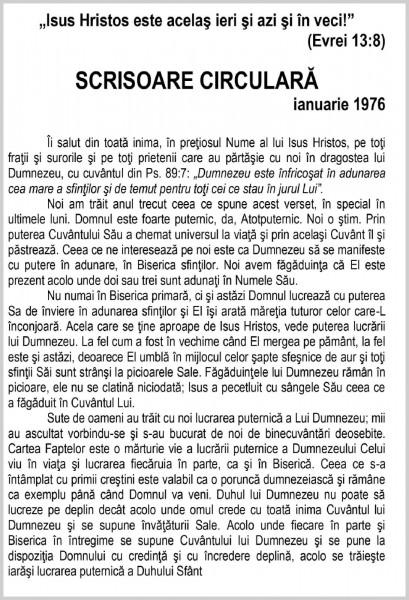 Scrisoare circulara 1976 ianuarie