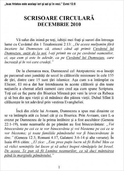 Scrisoare Circulara - 2010 Decembrie