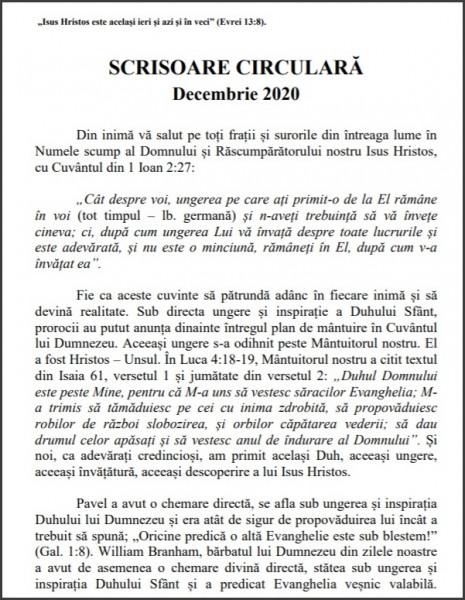 Scrisoare circulara - decembrie 2020