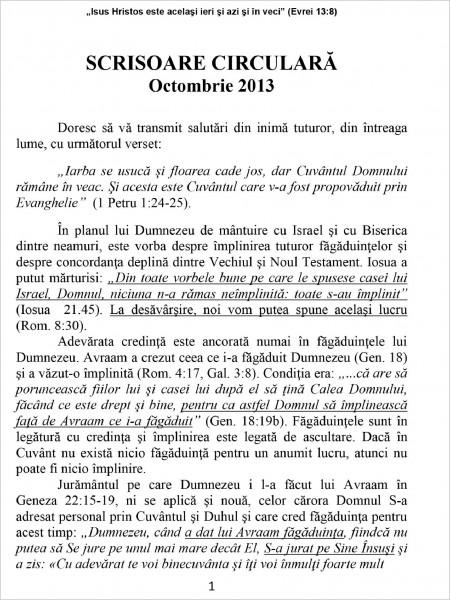 Scrisoare circulara 2013 octombrie