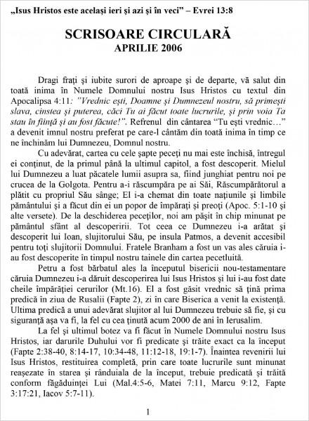 Scrisoare circulara - 2006 aprilie