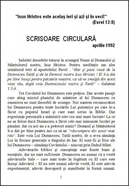Evanghelia.ro - Scrisoare circulara - 1992 aprilie