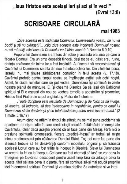 Ewald Frank - Scrisoare circulara - 1983 mai