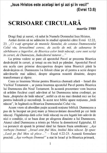 Scrisoare Circulara - 1980 Martie