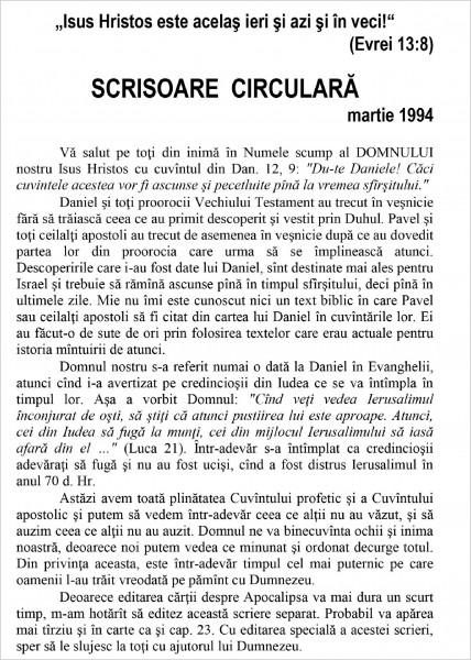 Evanghelia.ro - Scrisoare circulara - 1994 martie