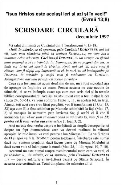 Scrisoare circulara - 1997 decembrie