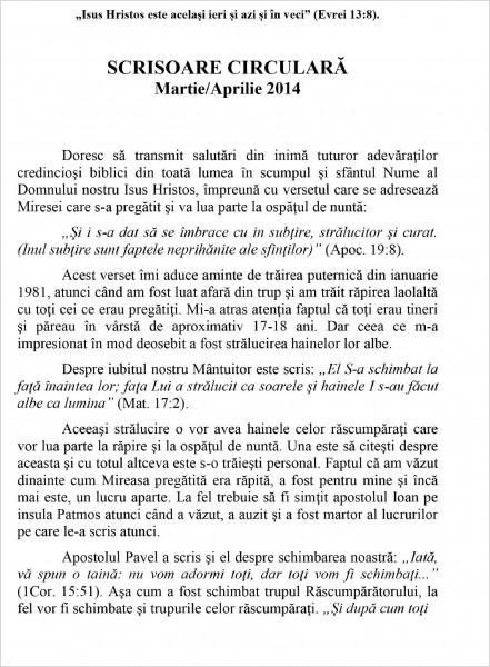 Scrisoare circulara 2014 martie-aprilie