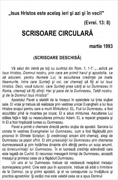 Scrisoare circulara - 1993 martie
