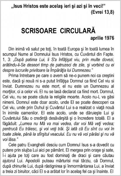Scrisoare circulara - 1976 aprilie