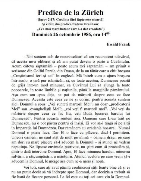 Evanghelia.ro - Predica din Zurich - 26 octombrie 1986 (Transcrisa)