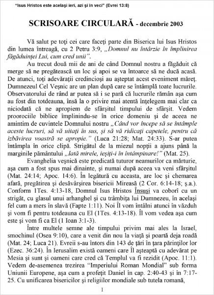 Ewald Frank - Scrisoare circulara - 2003 decembrie