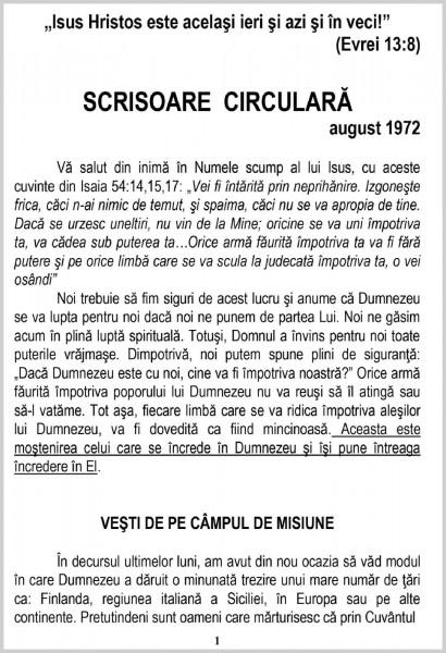 Evanghelia.ro - Scrisoare circulara - 1972 august