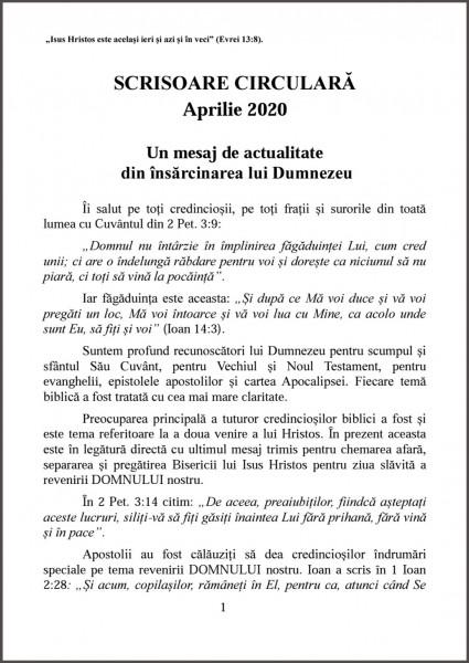 Ewald Frank - Scrisoare circulara - aprilie 2020