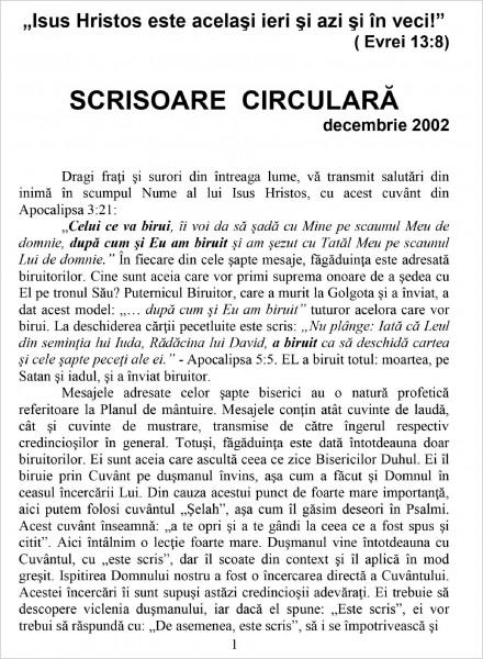 Ewald Frank - Scrisoare circulara - 2002 decembrie