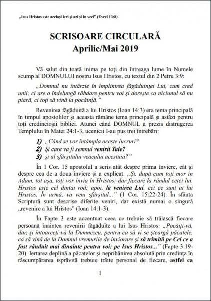 Scrisoare circulara aprilie-mai 2019