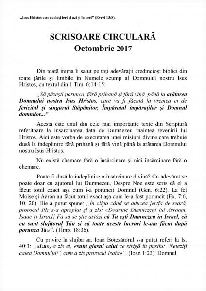 Scrisoarea circulara din octombrie 2017