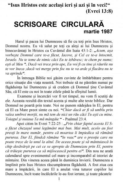 Scrisoare circulara - 1987 martie