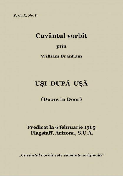 Evanghelia.ro - William Branham - UŞI DUPĂ UŞĂ