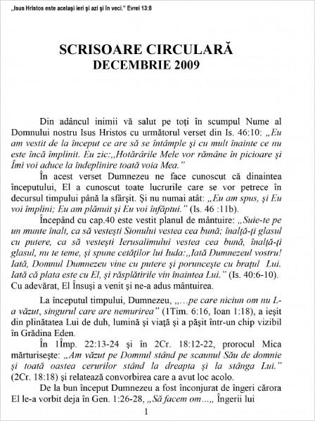 Scrisoare Circulara - 2009 Decembrie