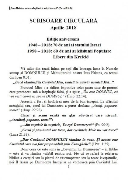 Scrisoare circulară din aprilie 2018