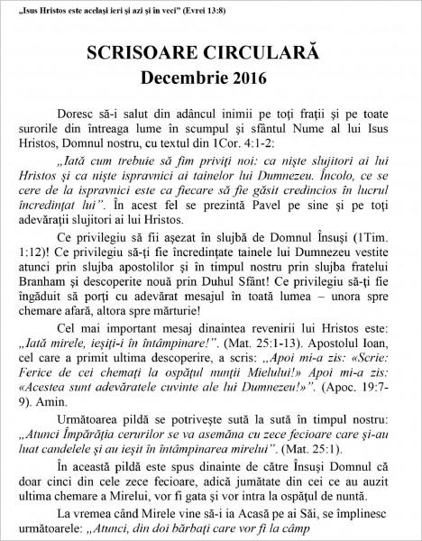 Scrisoare circulara decembrie 2016