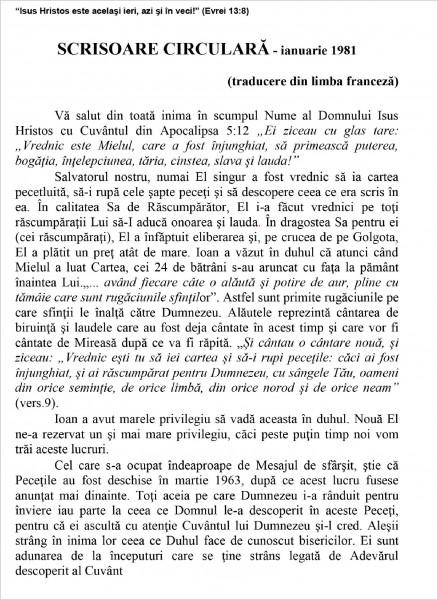 Ewald Frank - Scrisoare circulara - 1981 ianuarie