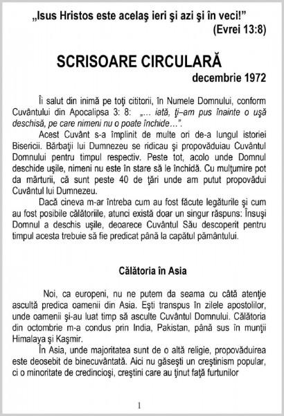 Scrisoare circulara - 1972 decembrie