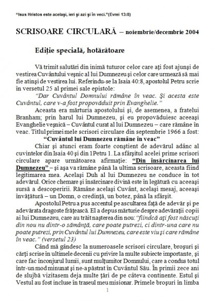 Evanghelia.ro - Scrisoare circulara - 2004 noiembrie/decembrie