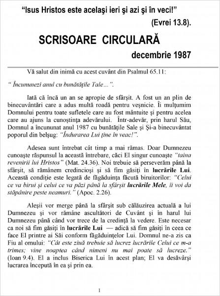 Scrisoare circulara - 1987 decembrie