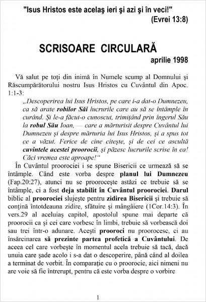 Ewald Frank - Scrisoare circulara - 1998 aprilie