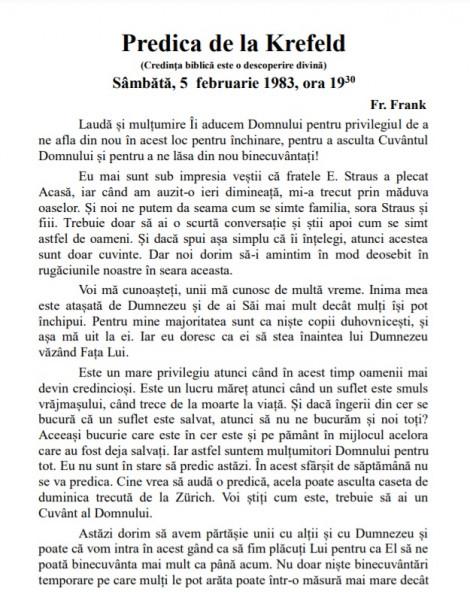 Evanghelia.ro - Predica din Krefeld - 5 februarie 1983 (Transcrisa)
