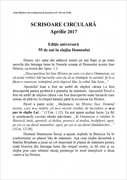 Scrisoare circulara aprilie 2017