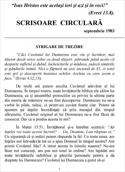 Ewald Frank - Scrisoare circulara - 1983 septembrie