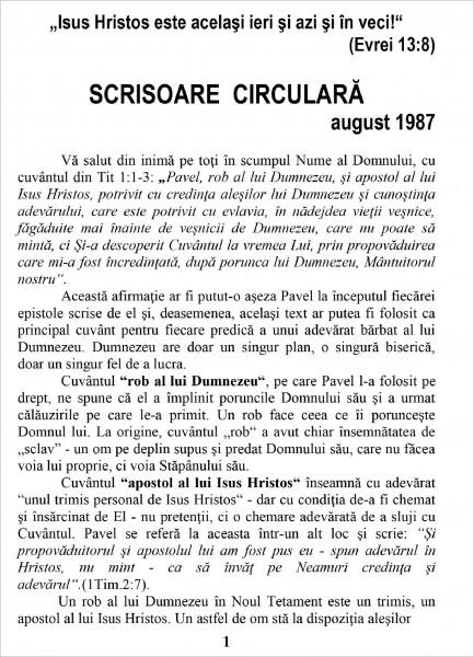 Ewald Frank - Scrisoare circulara - 1987 august